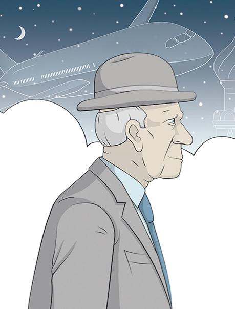 Illustratie confabuleren oude man