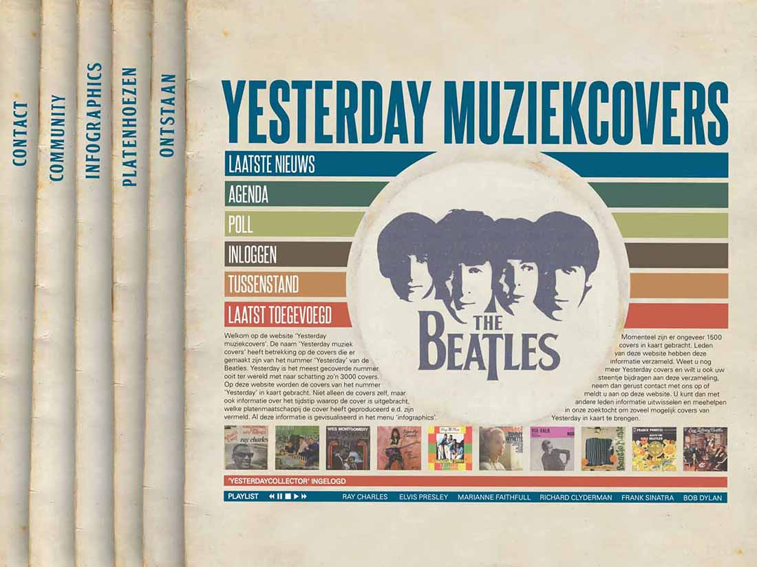 Yesterday muziek covers website homepage
