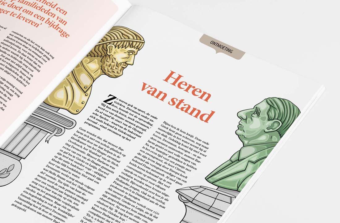 Denkbeeld illustratie standbeelden
