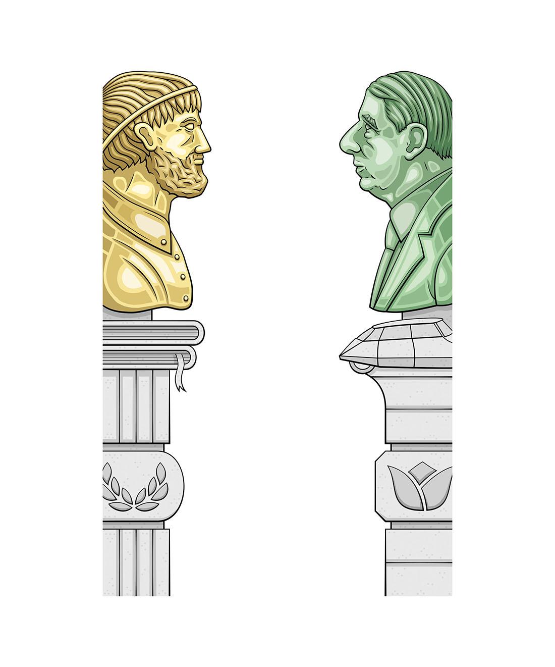 Illustratie standbeelden